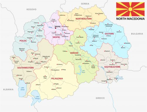 north macedonia administrative and political vector map with flag
